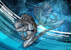 Ilustração 3d gerada por computador artística original do sumário de um homem inteligente artificial deprimido que ajusta-se na d ilustração stock