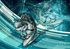 Ilustração 3d gerada por computador artística original do sumário de um homem inteligente artificial triste que ajusta-se na rend ilustração do vetor
