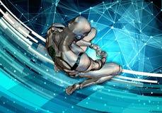 Ilustração 3d gerada por computador artística original do sumário de um homem inteligente artificial triste que ajusta-se na rend ilustração royalty free