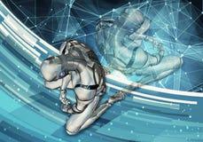 Ilustração 3d gerada por computador artística original do sumário de um homem inteligente artificial triste que ajusta-se na derr ilustração royalty free