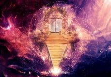 Ilustração 3d gerada por computador colorida da arte finala da porta de um céu Climbable da dimensão mais alta ilustração do vetor