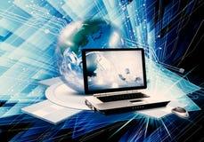 Ilustração 3d gerada por computador colorido do sumário artístico de um portátil e de um globo como um fundo tecnologico moderno ilustração stock