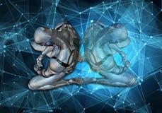 Ilustração 3d gerada por computador original do sumário artístico de um homem inteligente artificial triste que ajusta-se na derr ilustração royalty free