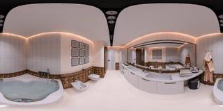 ilustração 3d 360 graus de panorama do banheiro Fotografia de Stock Royalty Free