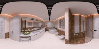 ilustração 3d 360 graus de panorama do banheiro Imagem de Stock