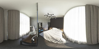 ilustração 3d 360 graus de panorama do quarto Fotografia de Stock