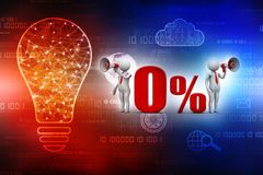 ilustração 3D Homem branco 0% fora do anúncio da venda com megafone 3d rendem Fotografia de Stock