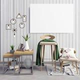 ilustração 3d, interior moderno com quadro, cartaz e cadeira P Fotos de Stock