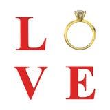a ilustração 3D isolou o amor vermelho da palavra do texto com diamante do ouro nós Imagem de Stock Royalty Free