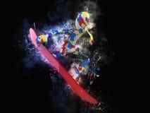 Ilustração 3D moderna colorida do Snowboarder ilustração stock