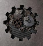 Ilustração 3d punk do vapor das engrenagens e das rodas denteadas Fotos de Stock