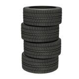 ilustração 3d quatro pneus do inverno isolados ilustração royalty free