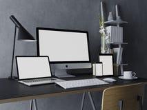 a ilustração 3d torna do projeto do modelo da tela de monitor branca limpa para sua estreia do design web no local de trabalho mo ilustração do vetor