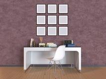 ilustração 3D uma parede com imagens, uma tabela e uma cadeira Foto de Stock