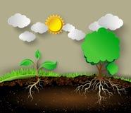 Ilustração da árvore com folhas e raizes do verde ilustração royalty free