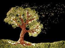 Ilustração da árvore feita dos feijões, lentilhas, arroz Imagem de Stock