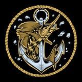 Ilustração da âncora com peixes Fotografia de Stock Royalty Free
