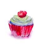 Ilustração da aguarela do bolo Fotos de Stock Royalty Free