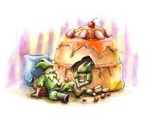 Ilustração da aguarela do bolo do feriado do conto de fadas do duende Imagens de Stock