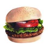 Ilustração da aguarela do Hamburger Imagens de Stock