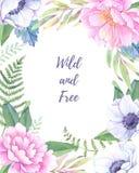 Ilustração da aguarela Frame floral com flores da mola Weddi ilustração do vetor