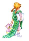 Ilustração da aguarela A menina vai para a cama Imagens de Stock Royalty Free