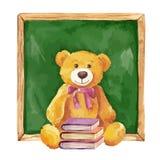 Ilustração da aguarela urso e administração da escola de peluche Imagem de Stock Royalty Free