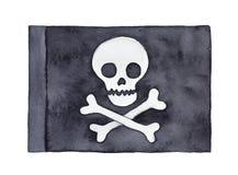 Ilustração da aquarela da bandeira tradicional grande do navio de pirata imagens de stock royalty free