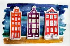 Ilustração da aquarela com casas brilhantes fotografia de stock