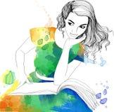 Ilustração da aquarela da menina bonita com livro aberto ilustração royalty free