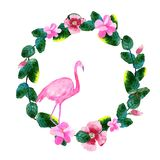 Ilustração da aquarela das folhas, das flores e dos flamingos ilustração stock