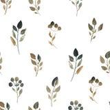 Ilustração da aquarela das folhas marrons Teste padrão sem emenda das folhas secadas no fundo branco ilustração royalty free
