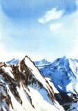 Ilustração da aquarela das montanhas Neve e pedras Foto de Stock Royalty Free