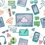 Ilustração da aquarela de dispositivos da tecnologia de comunicação Fotos de Stock Royalty Free