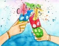 Ilustração da aquarela de dois amigos das mãos com dois coctails Fotografia de Stock