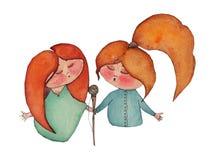 A ilustração da aquarela de duas meninas de canto, arte finala feito a mão fez a varredura do desenho ilustração do vetor