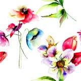 Ilustração da aquarela de flores do verão Fotos de Stock Royalty Free