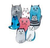 Ilustração da aquarela de gatos bonitos brilhantes fotografia de stock