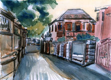 Ilustração da aquarela de Gulangyu xiamen Fotografia de Stock Royalty Free