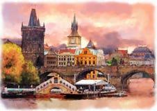 Ilustração da aquarela de Praga velha fotografia de stock royalty free