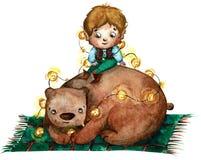 Ilustração da aquarela de um rapaz pequeno com as orelhas longas que sentam-se no urso marrom e que guardam luzes ilustração stock