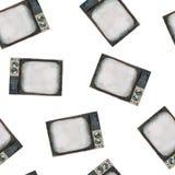 Ilustração da aquarela do aparelho de televisão retro velho, teste padrão sem emenda ilustração royalty free