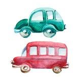 Ilustração da aquarela do carro azul e do ônibus vermelho Imagens de Stock Royalty Free