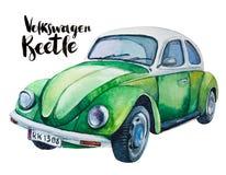 Ilustração da aquarela do carro verde retro Imagens de Stock Royalty Free