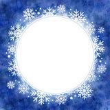 Ilustração da aquarela do inverno quadro redondo com flocos de neve Imagem de Stock