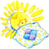 Ilustração da aquarela do por do sol do sol dos desenhos animados Fotografia de Stock Royalty Free