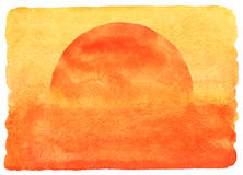 Ilustração da aquarela do por do sol ou do nascer do sol Foto de Stock