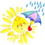 Ilustração da aquarela do sol e da chuva dos desenhos animados Imagem de Stock Royalty Free