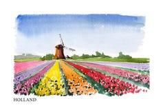 Ilustração da aquarela do vetor da Holanda ilustração stock