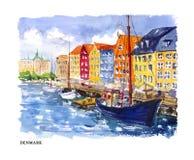 Ilustração da aquarela do vetor de Dinamarca ilustração do vetor
